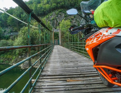 Passing old bridge with KTM 1290s